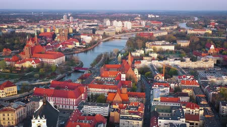 rosário : View from the height on the historic city center and the Odra River. Stare Myasto, Wroclaw, Poland. Filmed at different speeds - accelerated and normal Stock Footage