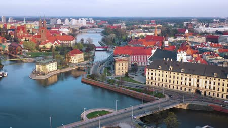 bámul : View from the height on the historic city center and the Odra River. Stare Myasto, Wroclaw, Poland