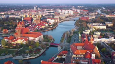rosário : View from the height on the historic city center and the Odra River. Stare Myasto, Wroclaw, Poland
