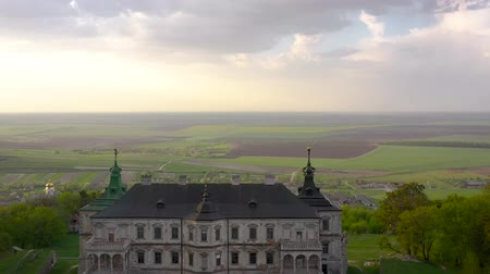 chmury : Aerial view of Pidhirtsi Castle, Ukraine Wideo