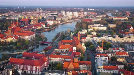 városháza : View from the height on the historic city center and the Odra River. Stare Myasto, Wroclaw, Poland