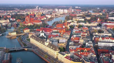 wrocław : View from the height on the historic city center and the Odra River. Stare Myasto, Wroclaw, Poland