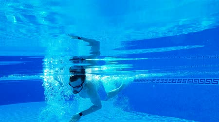 relaks : Underwater shooting as a man swims under the water