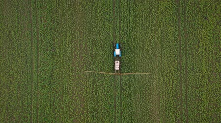 орошение : Top view of tractor treats agricultural plants on the field Стоковые видеозаписи