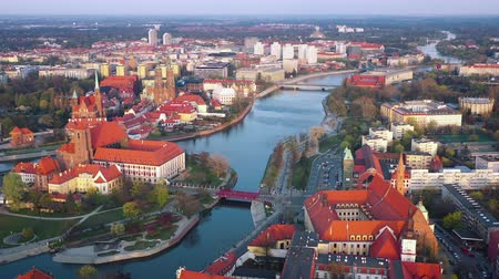 torre : View from the height on the historic city center and the Odra River. Stare Myasto, Wroclaw, Poland. Filmed at different speeds - accelerated and normal Stock Footage