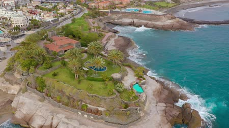 praia : Aerial view of the Playa del Duque, Adeje, Tenerife, Canarias, Spain