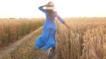 vychovávat : Beautiful woman in a blue dress and hat runs through a wheat field at sunset. Freedom concept. Wheat field in sunset. Slow motion