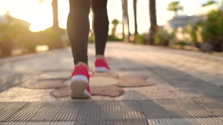 energia : Close up of woman tying shoe laces and running along the palm avenue at sunset. Back view. Filmed at different speeds - slow motion and normal