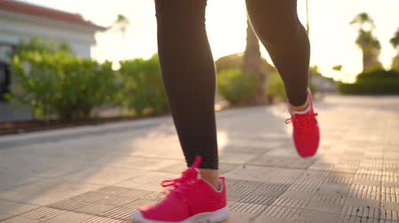 kardio : Close up of woman tying shoe laces and running along the palm avenue at sunset. Slow motion
