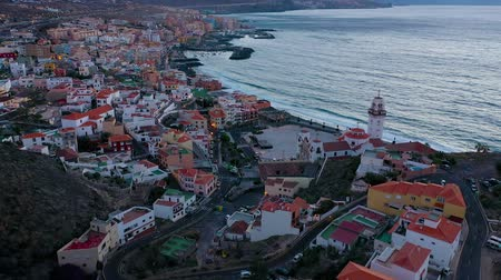 torre : Aerial View of Candelaria - City, Atlantic Ocean and Basilica near the capital of the island - Santa Cruz de Tenerife on the Atlantic coast. Tenerife, Canary Islands, Spain Stock Footage