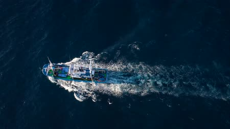 vessels : Top view of a fishing boat sailing in the Atlantic Ocean. Filmed at different speeds - accelerated and normal