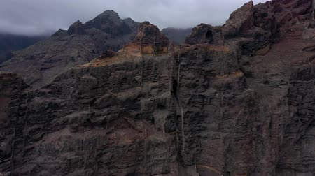 sziget : Aerial view of Los Gigantes Cliffs on Tenerife overcast, Canary Islands, Spain