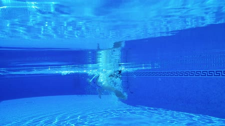 adam : Underwater shooting as a man swims under the water in the pool