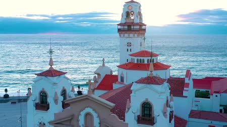 torre : View from the height of the Basilica and townscape in Candelaria near the capital of the island - Santa Cruz de Tenerife on the Atlantic coast. Tenerife, Canary Islands, Spain Stock Footage
