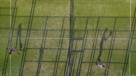tennis stadium : View from the height of the tennis court where people warm up before the game