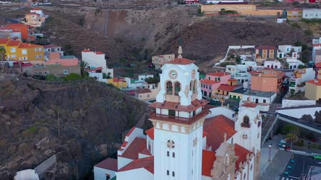 lugares : View from the height of the Basilica and townscape in Candelaria near the capital of the island - Santa Cruz de Tenerife on the Atlantic coast. Tenerife, Canary Islands, Spain Stock Footage