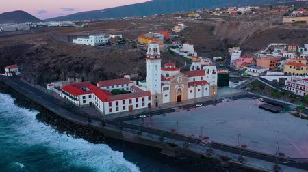 aanbidding : View from the height of the Basilica and townscape in Candelaria near the capital of the island - Santa Cruz de Tenerife on the Atlantic coast. Tenerife, Canary Islands, Spain Stockvideo