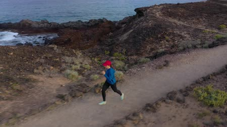 pista de corridas : Aerial view of woman runnning along the nature reserve at sunrise. Healthy active lifestyle Vídeos