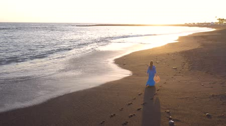 corps humain : Aerial view of a girl in a blue dress walking on the beach with black sand at sunset. Tenerife, Canary Islands, Spain Vidéos Libres De Droits