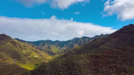 esparso : Aerial hyperlapse of the beautiful mountains and clouds on the sky. Tenerife, Canary Islands, Spain