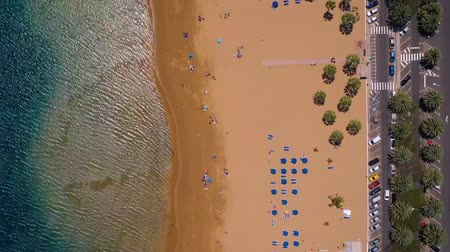 kanarya adaları : View from the height of the golden sand, palm trees, sun loungers, unrecognizable people on the beach Las Teresitas, Tenerife, Canaries, Spain. Timelapse