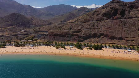 santa cruz : View from the height of the golden sand, palm trees, sun loungers, unrecognizable people on the beach Las Teresitas, Tenerife, Canaries, Spain Stock Footage