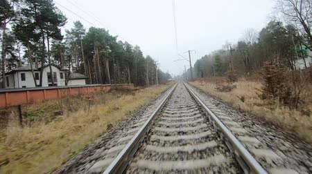 sleepers : FPV drone flight along railway, front view Stock Footage