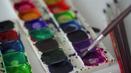garabatos : Brush takes different colors of watercolor paints from a palette and mixes them Archivo de Video