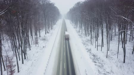 vagão : Aerial view of truck driving on a road surrounded by winter forest in snowfall