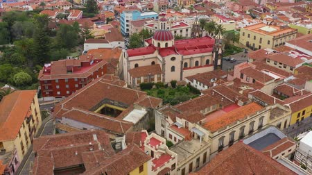 the conception : View from the height on the historic buildings and the Church of Our Lady of Conception. La Orotava, Tenerife, Canary Islands, Spain Stock Footage