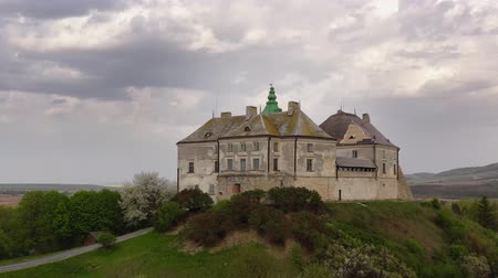 barok : Aerial view of Olesky Castle in spring, Ukraine Stok Video