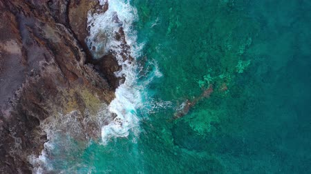 Канарские острова : Top view of a deserted coast. Rocky shore of the island of Tenerife. Aerial drone footage of ocean waves reaching shore
