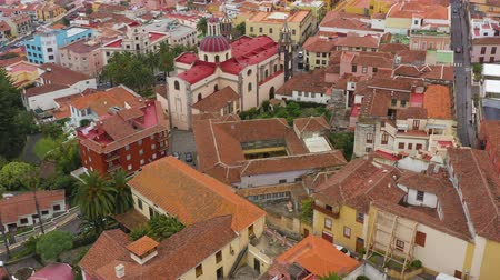 koncepce : View from the height on the historic buildings and the Church of Our Lady of Conception. La Orotava, Tenerife, Canary Islands, Spain. Accelerated video