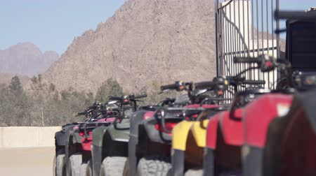 quads : The tourists ride on quads through the hot desert