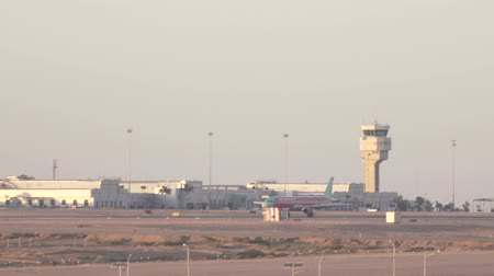 busiest : SHARM EL SHEIKH, EGYPT - MARCH 7:Airplanes landing at International Airport Stock Footage