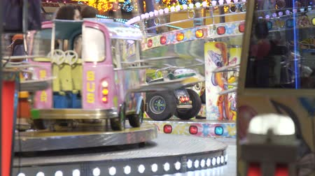 bumps : Electric bumper cars or dodgem cars at amusement park, 10.11.2017 Malaga, Spain