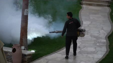 Worker fogging residential area with insecticides to kill aedes mosquito breeding ground, 17.03.2018, Sharm-El- Sheikh