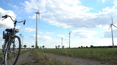 sustainable resources : Eco power. Wind turbines generating electricity. Stock Footage