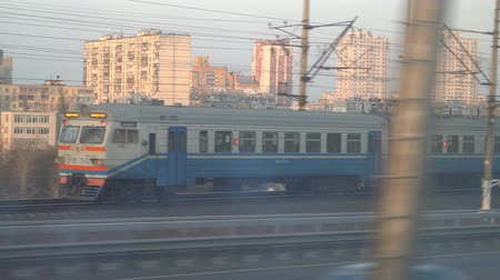 Railway lines shines by sun rays, over Dnipro river. Kyiv Stok Video