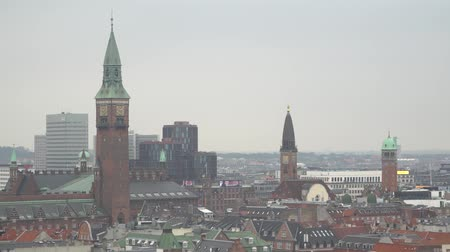 City beautiful skyline. Copenhagen, Denmark. 01.12.2019 Stok Video