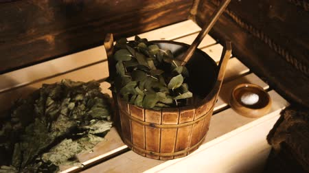 чулан : Traditional Equipment for Russian Bath from Wood.Oak Broom and a Tub