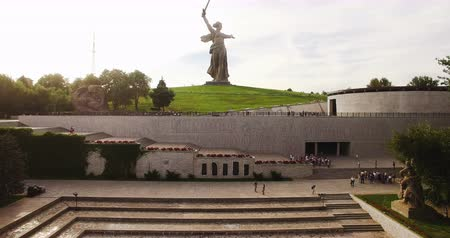 kard : Volgograd. Historical Memorial Complex Mamayev Kurgan Sculpture The Motherland Calls.4K Aerial View