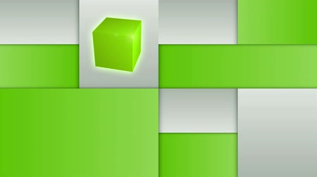 kocka : Green and gray squares layout with rotating cube. Full HD animation.