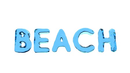 bounced : Word BEACH isolated on the white with red ball. Stock Footage