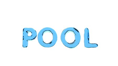 zvlněné : Pool text is wavy on the isolated white background with red and white ball.