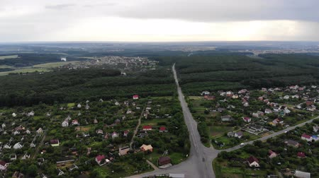 пригород : Aerial Drone Shot of a Village Suburban Sunny Day Crossroads Rainy Day