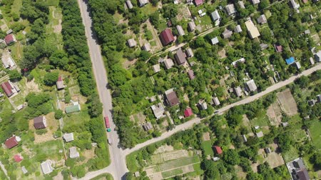 çatı : Aerial Drone Shot of a Village Suburban Sunny Day Stok Video