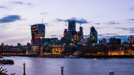 london england : Business Buildings and Thames River, London, UK, Day to Night, Time Lapse, 4k