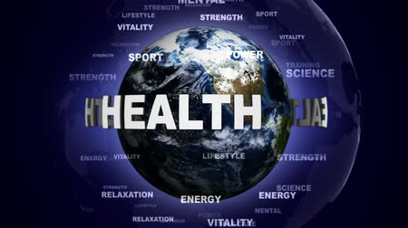 salubridade : HEALTH Text Animation and Earth, Rendering, Background, Loop, 4k Vídeos