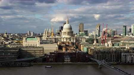historical building : St. Pauls Cathedral, Millenium Bridge and River Thames, Time Lapse, London, Loop, 4k Stock Footage